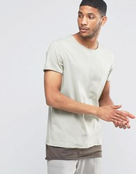Asos Super Longline T Shirt With Seam Detail And Boat Neck In Mock Double Layer In Grey Lndn Fog Turk Cofee Beige