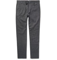Oliver Spencer Slim Fit Cotton And Wool Blend Trousers Gray
