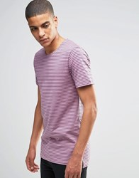 Minimum T Shirt With Breton Stripe In Pink Dusty Orchid