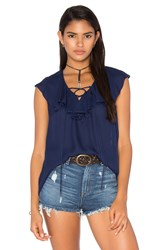 Haute Hippie Lace Up Front Ruffle Blouse Navy