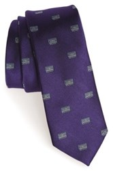 1901 Cassette Print Silk Tie Purple