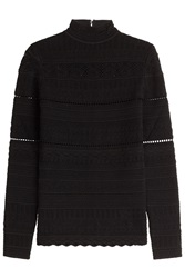 Alexander Mcqueen Lace Knit Top Black