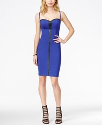 Guess Faux Leather Detail Zip Back Bodycon Dress Blue Desert Falls