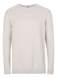 Topman Stone Ribbed Slim Fit Cotton Sweater