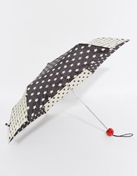 Lulu Guinness Superslim 2 Stars Umbrella Black White