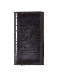 Berluti Ebene Script Leather Long Wallet Black