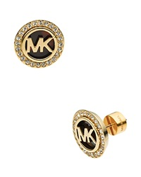 Michael Kors Monogram Tortoise Print And Pave Stud Earrings Gold Tortoise