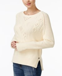 Roxy Juniors' Dark Water Cable Knit Sweater Off White