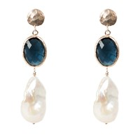 Latelita London Hydra Baroque Pearl And Sapphire Hydro Earring Rosegold Blue Rose Gold