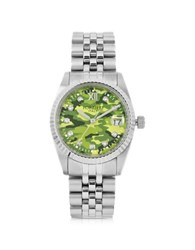Forzieri Trevi Silver Tone Stainless Steel Women's Watch W Green Camo Dial