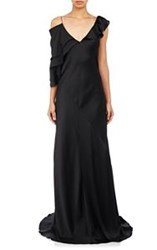 Saint Laurent Women's Charmeuse Asymmetric Gown Black