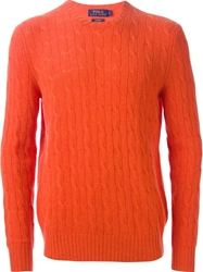 Polo Ralph Lauren Cable Knit Sweater Yellow And Orange
