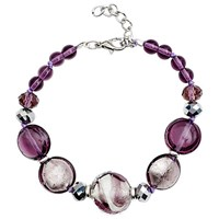 Martick Candy Cane Swirl Murano Glass And Crystal Bracelet Plum Silver