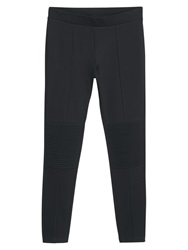 Mango Decorative Seam Leggings Black