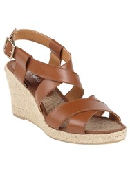 Phase Eight Tilly Leather Wedge Shoes Tan