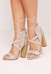 Missguided Cross Strap Lace Back Block Heel Sandals Grey Grey