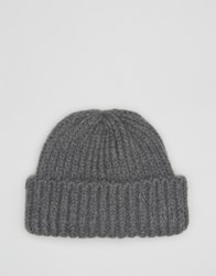 Asos Chunky Fisherman Beanie With Deep Turn Up Charcoal Grey
