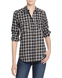 Paige Mya Plaid Shirt Black White