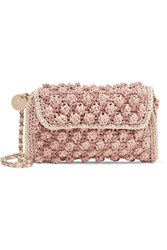 M Missoni Textured Crochet Knit Shoulder Bag Antique Rose