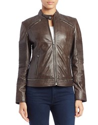 7 For All Mankind Moto Leather Jacket Truffle Grey