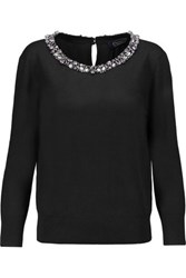Magaschoni Embellished Silk And Cashmere Blend Sweater Black
