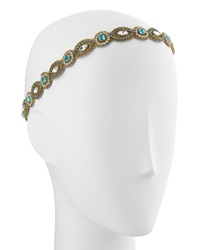 Deepa Gurnani Embellished Circle Marquis Headwrap Gold Turquoise