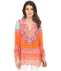 Hale Bob Tribal Wave Silk Tunic Fuchsia Women's Blouse Pink