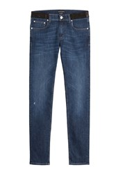 Alexander Mcqueen Slim Jeans With Leather Blue