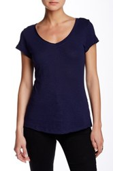 14Th And Union Short Sleeve V Neck Tee Petite Blue