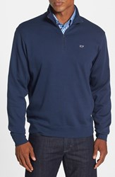 Men's Vineyard Vines Quarter Zip Cotton Jersey Sweatshirt Blue Blazer