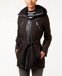 Bcbgeneration Hooded Zip Front Belted Coat Black