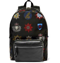 Alexander Mcqueen Printed Leather Trimmed Shell Backpack Black