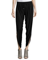 Haute Hippie Slit Hem Drawstring Harem Pants Black