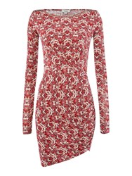Hoss Intropia 3 4 Sleeve Dress With Neck Detail Red