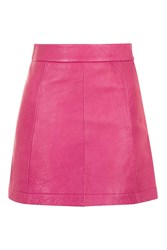 Topshop Pink Leather A Line Skirt