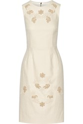 Dolce And Gabbana Lace Appliqued Cotton Blend Tweed Dress White
