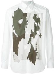 Comme Des Gara Ons Shirt Cut Out Camouflage Print Shirt White