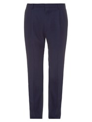 Lanvin Pleated Wool Blend Trousers Navy