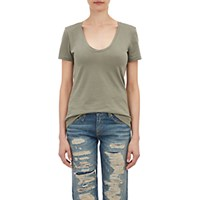 Barneys New York Women's Scoopneck T Shirt Green Dark Green Green Dark Green