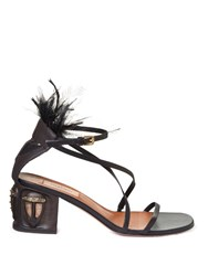 Valentino Tribal Mask Ankle Strap Leather Sandals Black