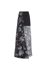 Versus By Versace Floral Print Layered Silk Chiffon Skirt Multi
