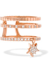 Diane Kordas Triple Cosmos 18 Karat Rose Gold Diamond Ring