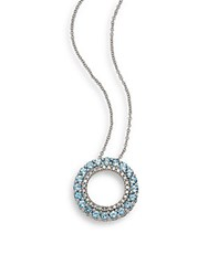 Effy Diamond Blue Topaz And 14K White Gold Pendant Necklace