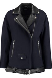 Muubaa Leather Trimmed Wool Blend Jacket Blue