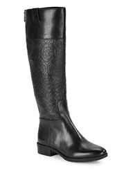 Karl Lagerfeld Maine Floral Embossed Leather Riding Knee High Boots Black