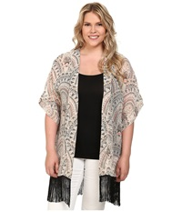 Steve Madden Plus Size Aztec Scallop Fringed Topper Silver Women's Clothing