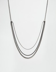 Asos Longline Neckchain In Mixed Metal Finish Black