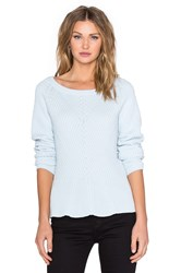 1. State Crewneck Diagonal Stitch Peplum Sweater Blue