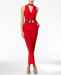 Material Girl Juniors' Belted Choker Jumpsuit Only At Macy's Chili Pepper