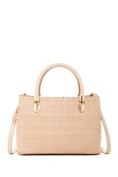 Cole Haan Benson Small Leather Woven Satchel Beige